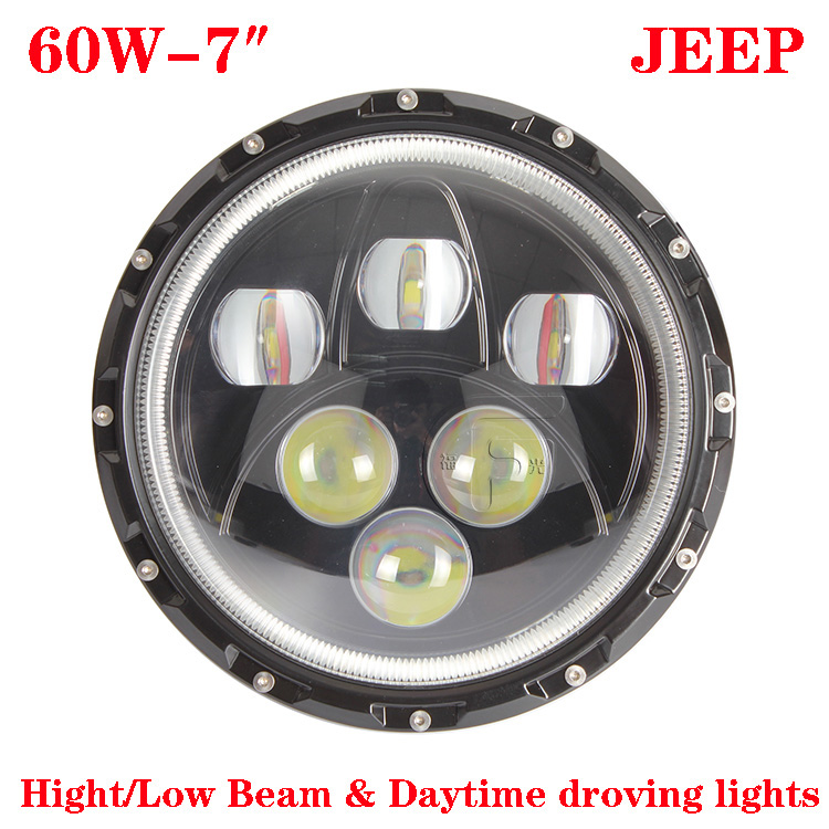 JEEP Wrangler Headlight,7inch 60W CREE LED Headlight